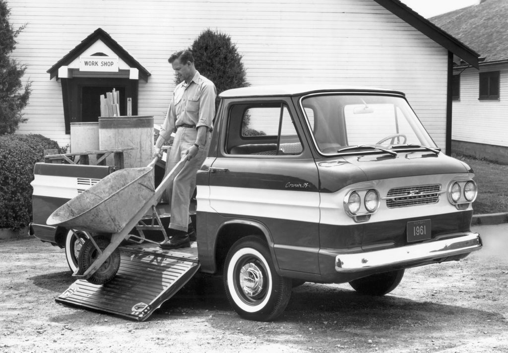 Cruisin in a Chevrolet corvair pickup
